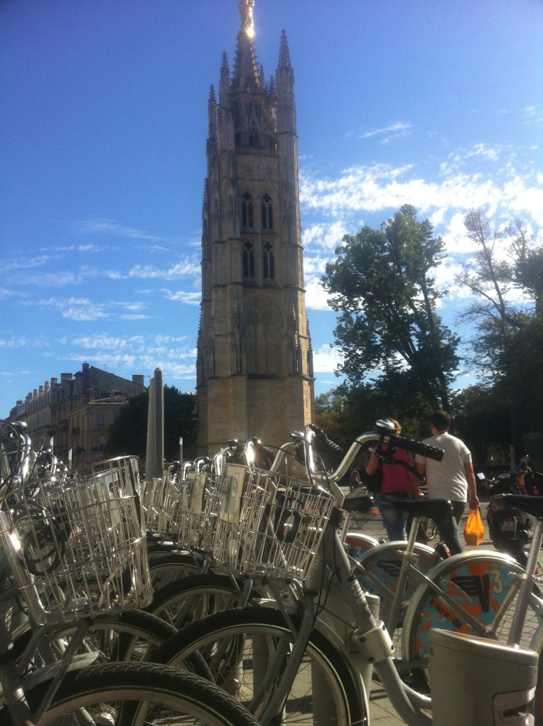 Bordeaux bicycles and the Tower of Pey-Berland