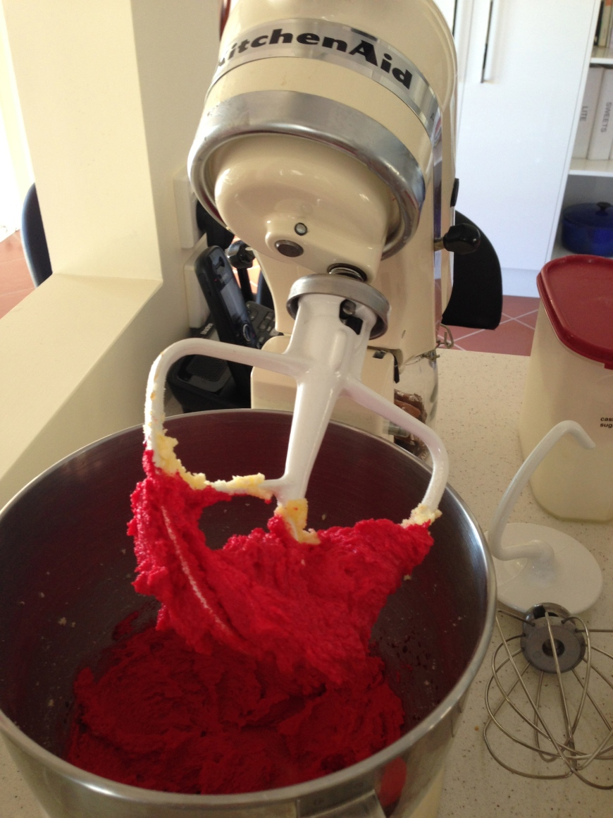 Kitchenaid + red cake batter = baking bliss